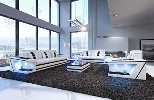 Designer Couch Paderborn 3er, 2er & Sessel weiss schwarz - 3