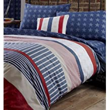 Catherine Lansfield Stars and Stripes - Juego de funda nórdica y funda de almohada (135 x 200 cm y 50 x 75 cm), diseño de barras y estrellas, color azul, rojo y blanco