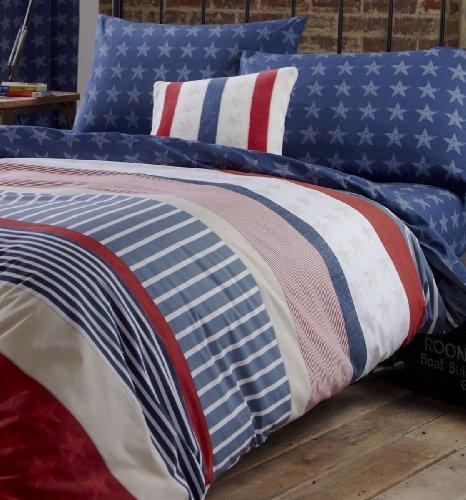 Catherine Lansfield Stars and Stripes Fitted Sheet Spannbetttuch, amerikanisches Flaggendesign, für Doppelbett, multi, Einzelbett