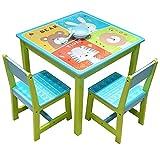 Style home 3 TLG.Kindersitzgruppe Kindertisch mit Kinderstühlen Holz Sitzgruppe 1 Tisch und 2 Stühle für Kinder Mädchen und Jungen,17GD-002, Bär,Hase,Tiger und Löwe