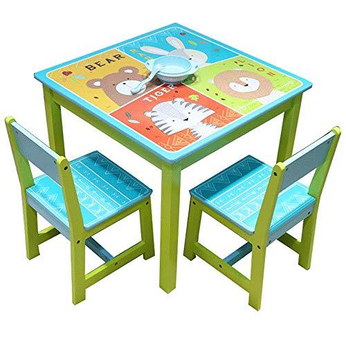 Style home 3tlg. Kindersitzgruppe Kindertisch mit Stühle Holz Sitzgruppe für Kinder Mädchen und Jungen Kindermöbel Set 17GD-002 Bär,Hase,Tiger und Löwe - Stuhl Aus Holz