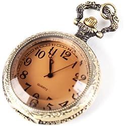 UNIQUEBELLA Pocket watch-Quartz-Men/ Women/ Children-Vintage-Alloy Chain/Necklace-B5-B010 Bronze -Tea