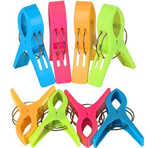 Trixes confezione da 8 mollette in plastica grandi in colori brillanti, mollette per telo mare, per lettino