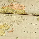 Stoffe Werning Dekostoff Weltkarte beige 280 cm breit