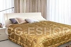 Idea Regalo - Confezioni Giuliana Trapunta PIUMONE Matrimoniale Tinta Unita Jacquard 255X255 Oro