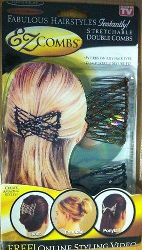 2x EZ Combs marrone e argento elastico doppio capelli pettine