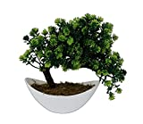 #7: Pindia Artificial Bonsai Plant Tree Green Flowers With Pot (size 8.5 inchs/ 22 cms)