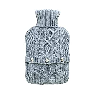 AIHOME Hot Water Bottle, Knitted Warm Water Bottle, Solid Color, Foldable Water Injection Hot Water Bag, Portable Safety, Suitable for Indoor and Outdoor