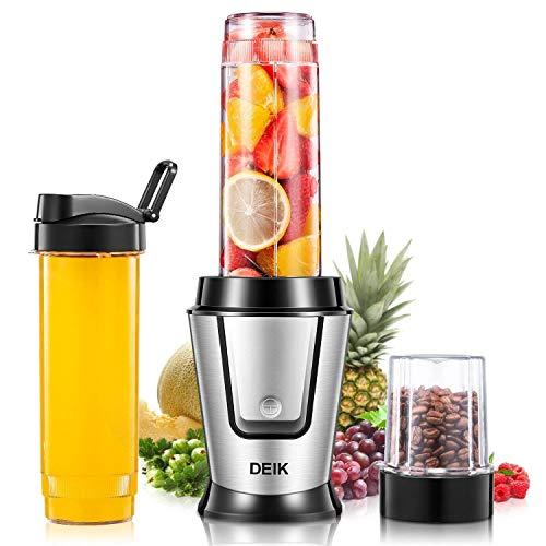 DEIK Mini Mixer Smoothie Maker (500W, 25.000 U/min) Mini Standmixer, Zwei Tritan-Flaschen mit Deckel (600ml, BPA frei), und Kaffeemühle, 4-Klingen Edelstahl
