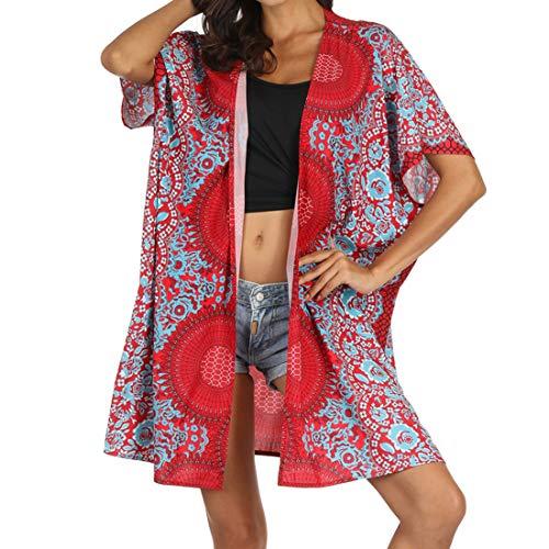 Rot Floral Kimono (Vertvie Damen Kimono Sommer Boho Strandtunika Blumen Druck Strand Jacke Florale Strandkleid(Rot, Einheitsgröße(EU36-44)))