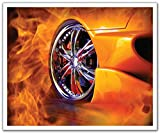 Schälen und Stick Abnehmbare Wandtattoo Aufkleber Wandbild, Fire Street Racing Hot Wheels, 24von 19.75-inch