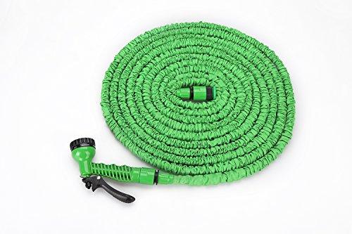 """Flexibler Gartenschlauch Latex Knickfest Wasserschlauch mit Sprühpistole/Brause - Länge 7 bis ca. 22,5 m oder 10 m bis ca. 30 m, dehnbar - kein """"Schlauchsalat"""" Farbe Frei Wählbar (22,5 Meter, Grün)"""
