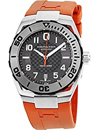 HAMILTON MEN'S NAVY SUB 42MM RUBBER BAND STEEL CASE AUTOMATIC WATCH H78615985