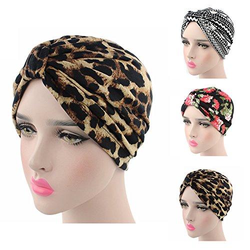 Ever Fairy® Womens Floral Print Cotton Turban Chemo Sleep Cap,Turban Hat Cap Hair Wrap