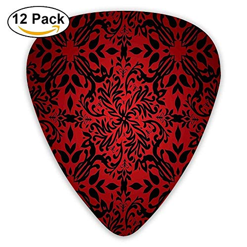 Indian Mandala Ethnic Oriental Design Flowers Leaves Frame Guitar Picks 12/Pack -