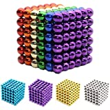 Ulable 216 PCS 5mm Bolas Magnéticas Descompresión Viaje DIY Juegos de mesa de fiesta Creativo Juguete Inteligencia y Desarrollo de Paciencia Alivio de Estrés Juguetes de Metal (6 colores)