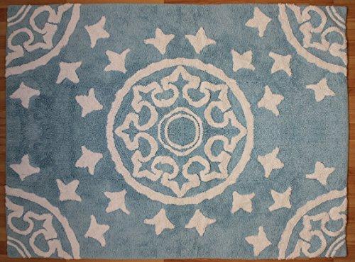 Aratextil Dune Tapis Enfant, Coton, Bleu Ciel, 120 x 160 cm