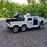 GUANGYING 1:32 Hummer Voiture De Police en Alliage Modèle De Voiture Simulation 6 Pick-Up Rond Pays Spécial Voiture De Police Son Et Lumière Tirer en Arrière Voiture De Jouet