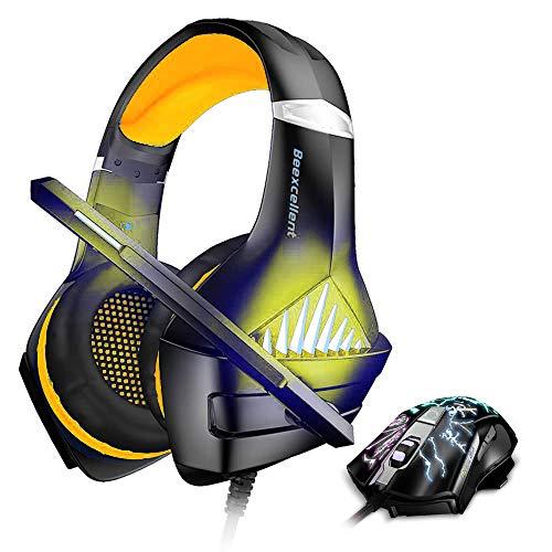 BENGOO GM-5 Stereo Gaming Headset für Xbox One, PS4, PC mit Maus, Geräuschunterdrückung, Over-Ear-Kopfhörer mit Mikrofon, LED-Licht, Gaming Maus mit 3200 DPI einstellbar und 6 Tasten, Grün Gelb gelb Gm-stereo
