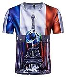 Whatlees Herren Slim Fit FIFA Fussball WM 2018 3D Druck T-Shirt Frankreich - Ba0043-09 - S