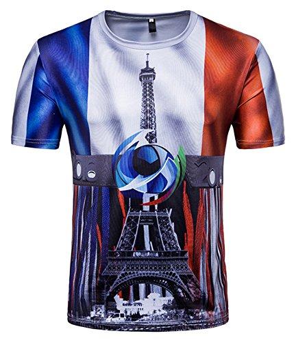 Whatlees Herren Slim Fit FIFA Fussball WM 2018 3D Druck T-Shirt Frankreich