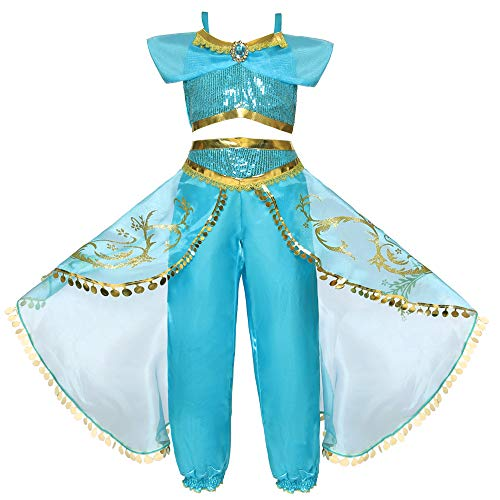 Kostüm Arabian Dance - AUED Halloween Märchen Kostüm Mädchen Kinder Arabian Holiday Pageant Kleidung Prinzessin Jasmin Kostüm verkleiden Sich Outfits Halloween Party Dance Masquerade,120