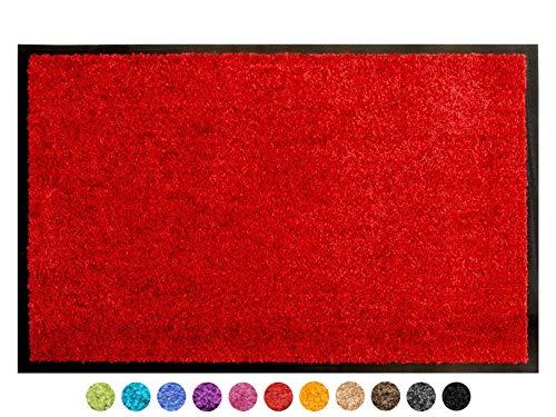 Primaflor - Ideen in Textil Schmutzfangmatte CLEAN - Rot 60x90 cm, Waschbare, rutschfeste, Pflegeleichte Fußmatte, Eingangsmatte, Küchenläufer Sauberlauf-Matte, Türvorleger für Innen & Außen