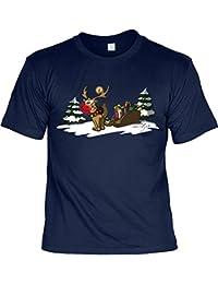 VERI Weihnachten Weihnachtsshirt T-Shirt RENTIER RUDOLPH mit der roten Nase Weihnachtsmotiv bedruckt Advent Weihnachtszeit Nikolaus Geschenke Idee Adventskalender in dunkelblau : )