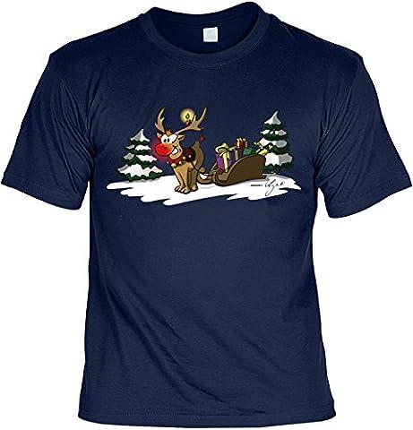 T-Shirt mit Weihnachts-Motiv: Rudolph the rednosed reindeer - Lustige Geschenkidee - Weihnachtsgeschenk - By Gali - Farbe: navyblau