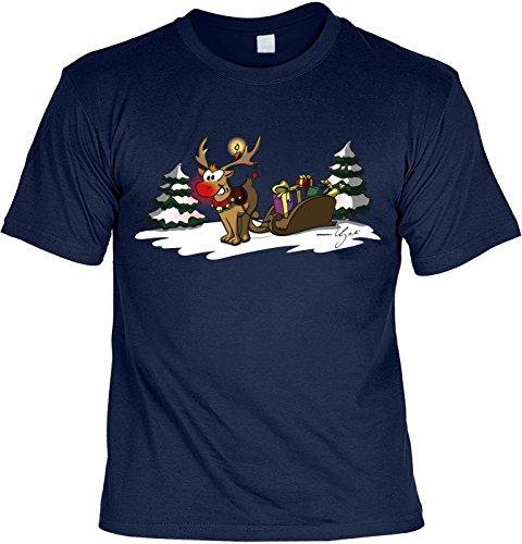 T-Shirt - Rentier Rudolf mit Weihnachtsmann Schlitten Shirt Farbe navy - Weihnachtsshirt als Outfit für die Festtage