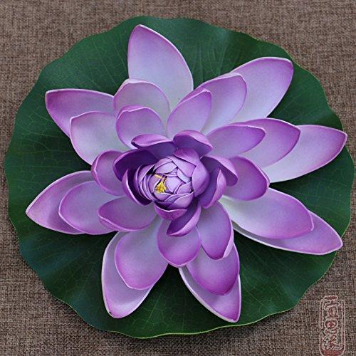 Xin Pang Fish Tank fließenden Wasser Simulation Künstliche Blumen Lotus Blatt grün Teich Dekoration Fake Seerose Tanz Requisiten Lotus Blumen, Lila 28 cm