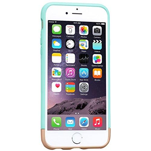 Coque iPhone 6 Plus. Housse iPhone 6S Plus Noir GrandEver Etui 2 pièces Silicone Back Cover Couleur unie Cover Flexible Soft Back Case Rubber Gel coquille Couverture pour Apple iPhone 6 Plus/iPhone 6S Menthe verte