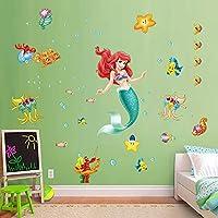 decalmile Pegatinas de Pared Sirena Ariel Vinilos Decorativos Princesa Mundo Submarino Adhesivos Pared Habitación Niña Bebés Infantiles Niños Guardería Dormitorio Salón