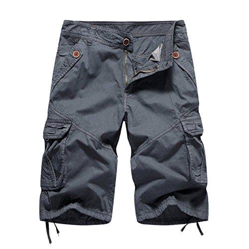 WDDGPZDK Strand Shorts/Sommer Lässig Männer Shorts Baumwolle Cargo Herren Shorts Militärischen Beach Shorts Männlich, Eisen Grau, 36 (Eisen-ziel)