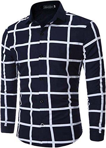 Jeansian Hommes Mode simple pour les Chemises Manche Longue Men's Fashion Casual Business Dress Shirt Tops 84N5 Navy