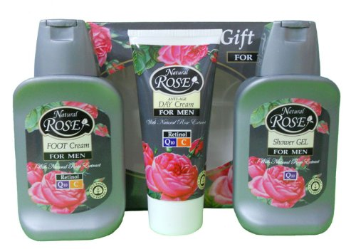 Coffret cadeau homme Natural Rose - Gel-douche, Crème visage anti âge et Crème pour les pieds