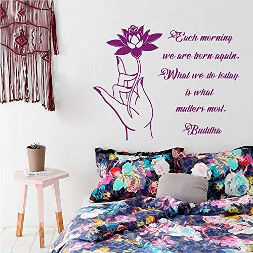Meaosy Buddha-Zitat Wandtattoo Lotus Flower Design Wallpaper Jeden Morgen Sind Wir Wieder Geboren Buddha Singen Vinyl Wandaufkleber 1683