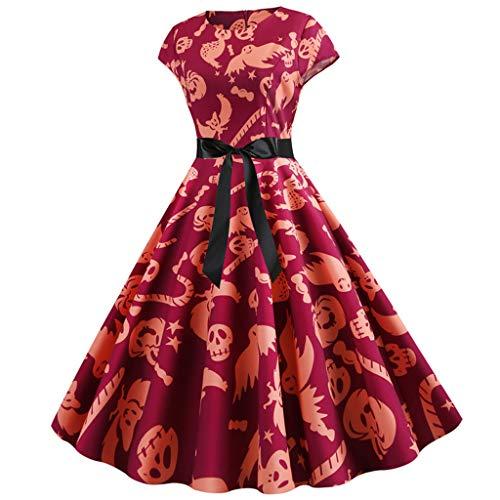 MasteriOne Halloween Cosplay Kleider Damen Rock Ballkleid Cocktailkleider Abendkleid Hepburn Partykleid Frauen Kurzarm Retro Vintage Spitzenkleid Kürbis Swing-Kleid