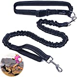 PETBABA Pet 2.5cm / 1 Inch Width 86cm - 130cm / 2.8 - 4.3FT Length Lightweight Reflective Nylon Bungee Hands-free Running Lead for Small to Medium Dogs Black