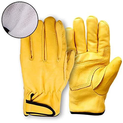 Mit Futter verdickte Lederhandschuhe Verschleißfeste Schutzhandschuhe für kurze Absätze (Color : Yellow, Size : L)