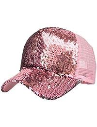 Hulday Gorra para Hombre para Gorra Y De Mujer Béisbol De Estilo Simple  Cola De Caballo para Mujer Lentejuelas Sombrero Desordenado… fb6a9ed7ec2