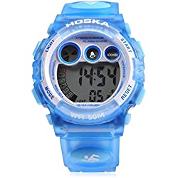 Leopard Shop HOSKA H002B Children LED Digital Watch Day Chronograph LED Sports Water Resistance Wristwatch Blue