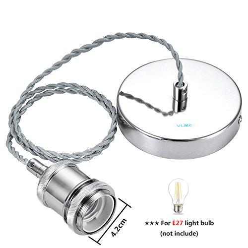 Foto de VLIKE PL01 Modern ES E27 Techo Suspensión Trenzado Flex Lámpara Soporte Colgante Luz Fitting Kit (Cromo)