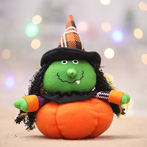 Saniswink Exquisite Ornaments Lovely Pumpkin Cat Witch Ghost Cloth Plush Toy Bar Club Home Halloween Decor - Witch