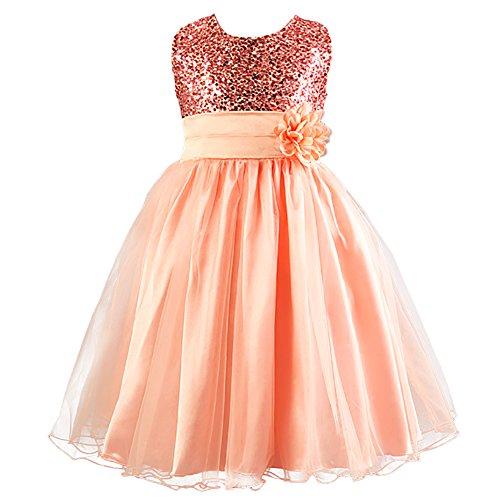 (LSERVER-Kleines Mädchen Prinzessin Kostüm Paillette Blume Hochzeit Bankett Party Kleid, Pink, 162/168)