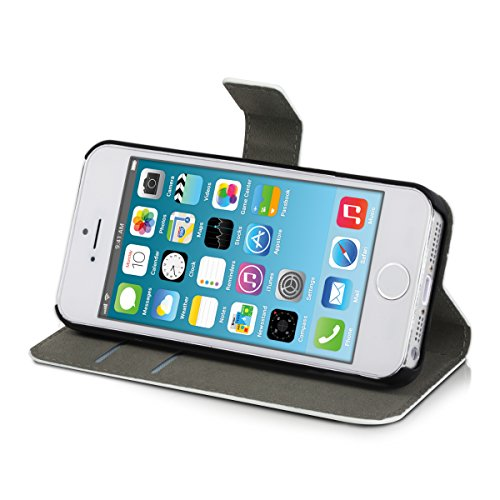 kwmobile Wallet Case Hülle für Apple iPhone SE / 5 / 5S - Cover Flip Tasche mit Kartenfach in Schwarz Mädchen Schirm Pink Weiß