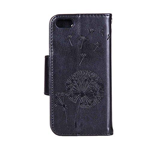 MOONCASE IPhone 5G / 5S / SE Coque, Faux Diamant Pissenlit Gaufrage Dessin Motif Étui Housse en Cuir à rabat Coque de Portefeuille Porte-Cartes TPU Case avec Béquille pour iPhone 5 / 5S / iPhone SE Bl Noir