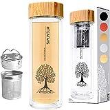 amapodo vaso teiera 400ml a doppia parete con filtro in acciaio inox e coperchio in bambù