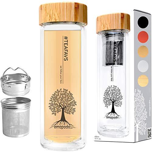 amapodo Teebereiter Teeflasche Tee-Glas mit Tee-Sieb und Bambus-Deckel
