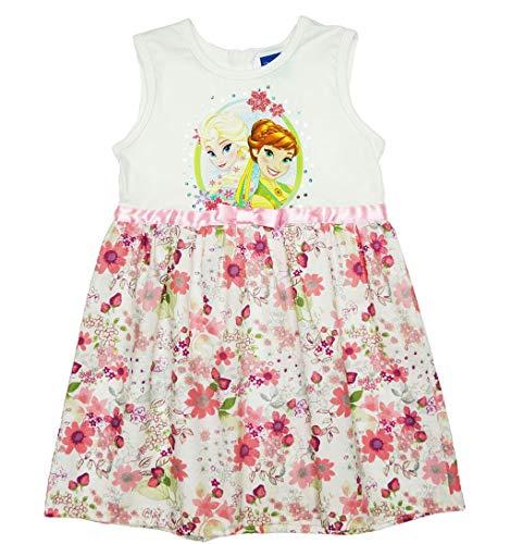 Disney Baby Eiskönigin Mädchen Prinzessinnen-Kleid mit Blumen in Gr. 104 110 116 122 128 134 Baumwoll schön luftig FEST-Kleid mit Glitzer für 3 4 5 6 7 8 Jährig Größe 104, Farbe Beige